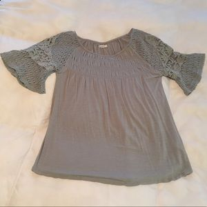NWOT Maurice's sage green embroidered blouse